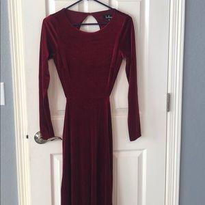 Red cocktail dress, full length